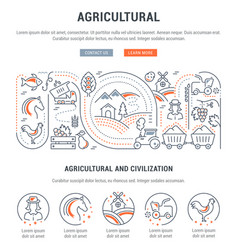 Website banner and landing page agricultural vector