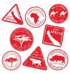 Wild africa stamps vector