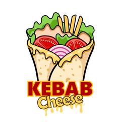 wrap kebab cheese vector image