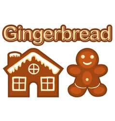 xmas ginger bread cookie man and house colorful vector image vector image