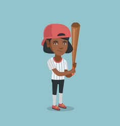 young african-american baseball player with a bat vector image