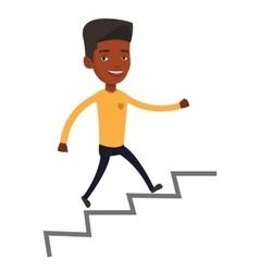 Business man running up the career ladder vector