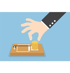 Businessman hand try to pick money from mousetrap vector