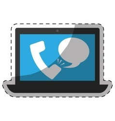Phone call with computer digital telecommunication vector