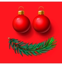 Red Christmas balls and fir twig vector image vector image