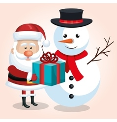 happy snowman and snta claus with blue gift ribbon vector image vector image