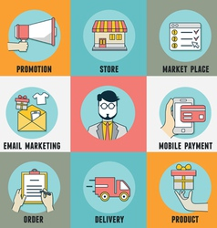 Infographic of process mobile shopping vector image vector image