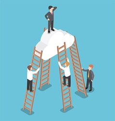 Isometric businessman standing on the cloud vector image vector image
