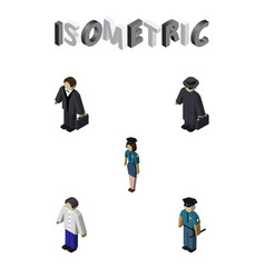 isometric people set of detective officer vector image vector image