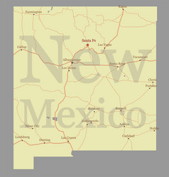 new mexico detailed exact detailed state map vector image vector image