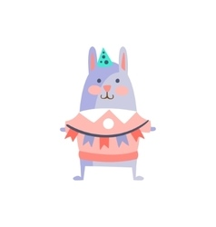 Rabbit With Party Attributes Girly Stylized Funky vector image