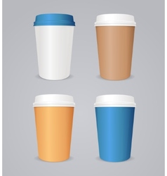 colorful coffee paper cup set vector image