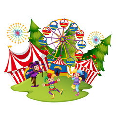 many jesters at the circus vector image