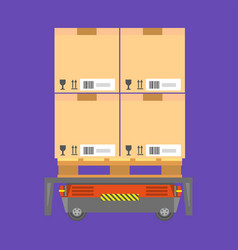 cardboard boxes loaded on special cart for vector image vector image