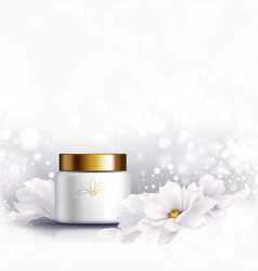 Cosmetic bottle for natural cream white jar and vector