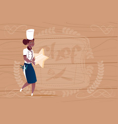 female african american cook holding star best vector image vector image
