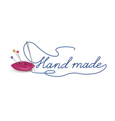 Hand made dress symbol needle thread sewing sign vector