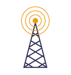 wireless tower with radio waves communication vector image