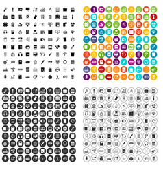 100 office supplies icons set variant vector image