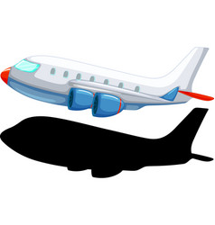 Airplane cartoon style with its silhouette vector