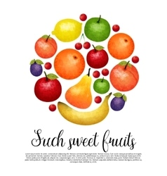 Aquarel Sweet Fruit Round Design vector image