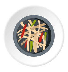 Asian salad icon circle vector