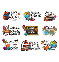 Back to school isolated sketch icons set vector
