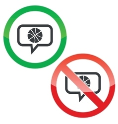 Basketball message permission signs vector image