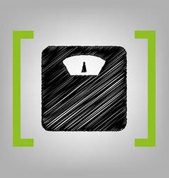 bathroom scale sign black scribble icon vector image