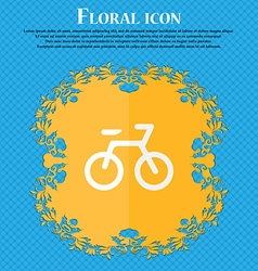 Bicycle Floral flat design on a blue abstract vector image
