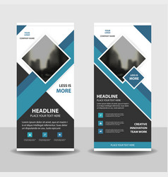 Blue square business roll up banner flat design vector