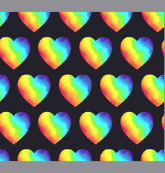 bright rainbow colors gradient hearts pattern vector image