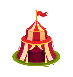 bright red circus tent with flag on top vector image