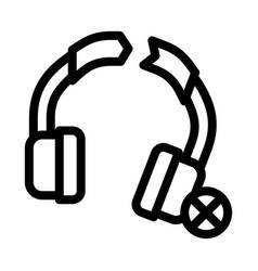 Broken earphones icon outline vector