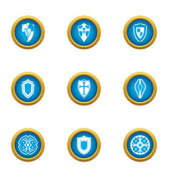 buckler icons set flat style vector image