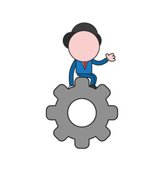 businessman character sitting on gear color and vector image