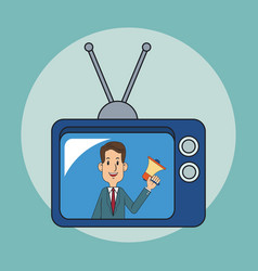 Businessman on tv vector