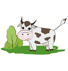 cartoon cow on a meadow vector image