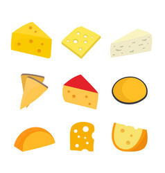 cheese set flat cartoon character vector image