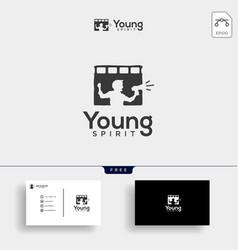Children film broadcast logo template vector