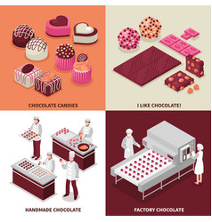 chocolate manufacture 2x2 design concept vector image