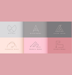 Clean minimalist logo template set six vector