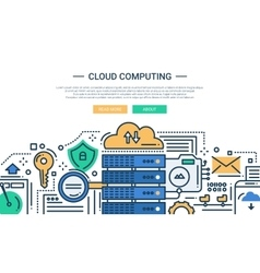 Cloud Computing - line design website banner vector