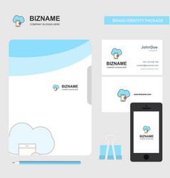 cloud with smart phone business logo file cover vector image