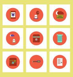Collection of icons in flat style halloween theme vector