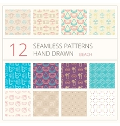 Collection of summer seamless patterns vector image
