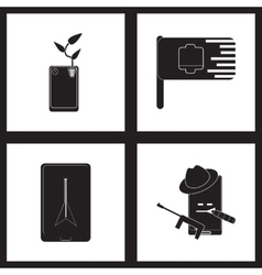 Concept flat icons in black and white mobile vector image