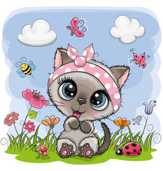 Cute cartoon kitten girl on a meadow vector