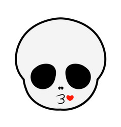 Cute skull blowing kisses vector