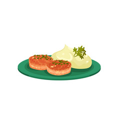 Cutlets with mashed potatoes served on a plate vector